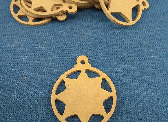 Α4 Στολιδι μπαλιτσα με αστερι 8 ακτινες  σε μπαλα 9εκ υψος