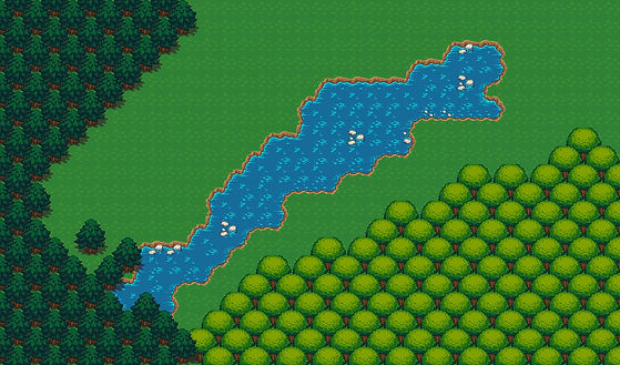 pixel art trees and river background of adventure game