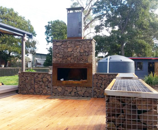 Outdoor Gabion Fireplace