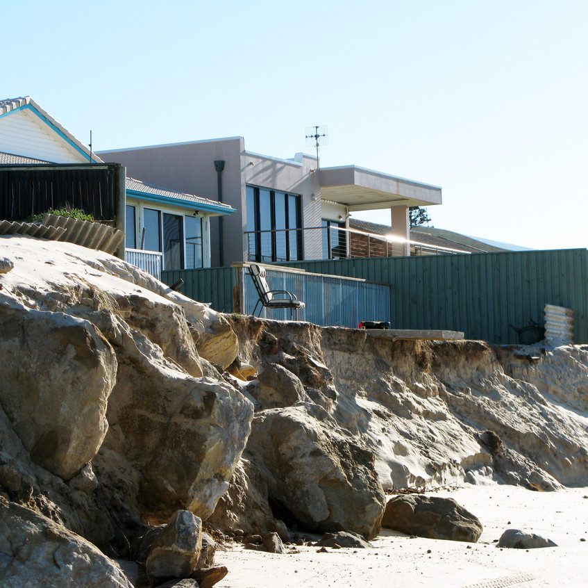 Coastal erosion effecting housing