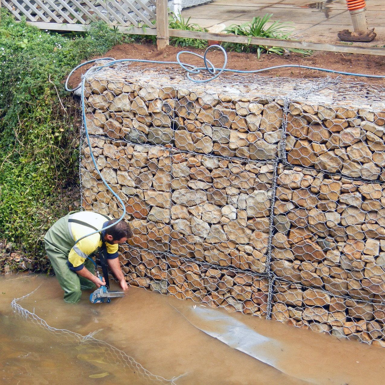 Creek Wire Gabion Installation
