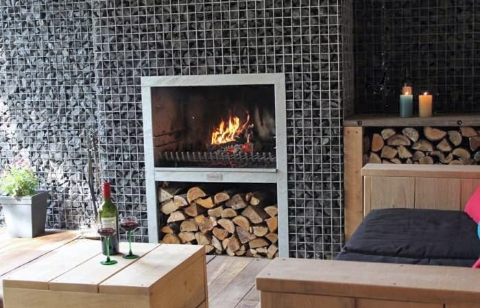 Gabion Fireplace and Wood Storage