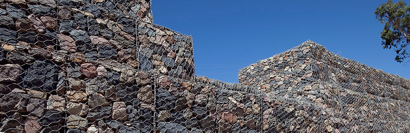 Gabions installed for weir at sellicks beach, south australia