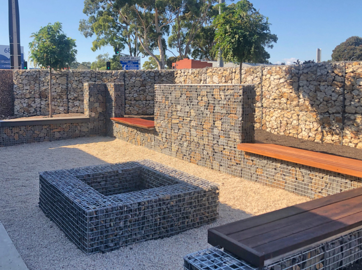 Gabion fire pit and seating at the Prospect Contractors office