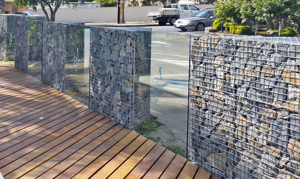 Triangular Gabion Pillars and Glass Pool Fence