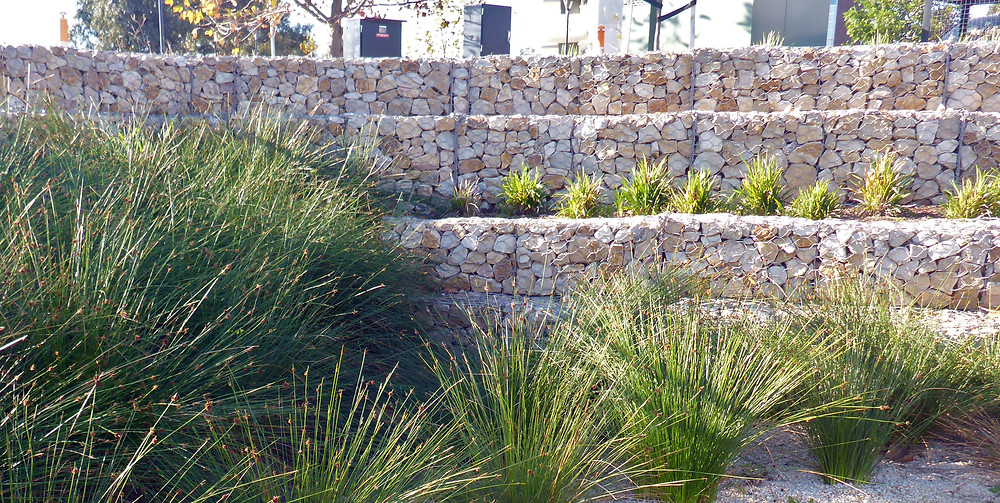 Sandstone Stepped Gabion Retaining Wall