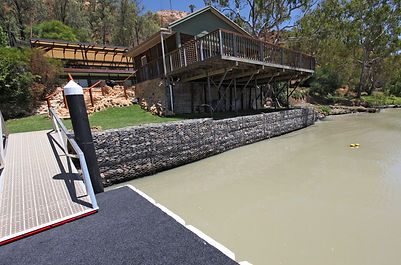 Prospect Contractors installed a Gabion retaining wall at Greenbanks along the River Murray