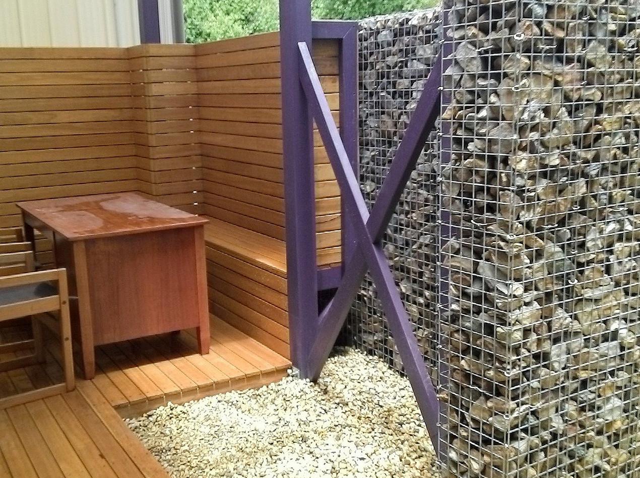 Courtyard Rockweld windbreak and privacy screen