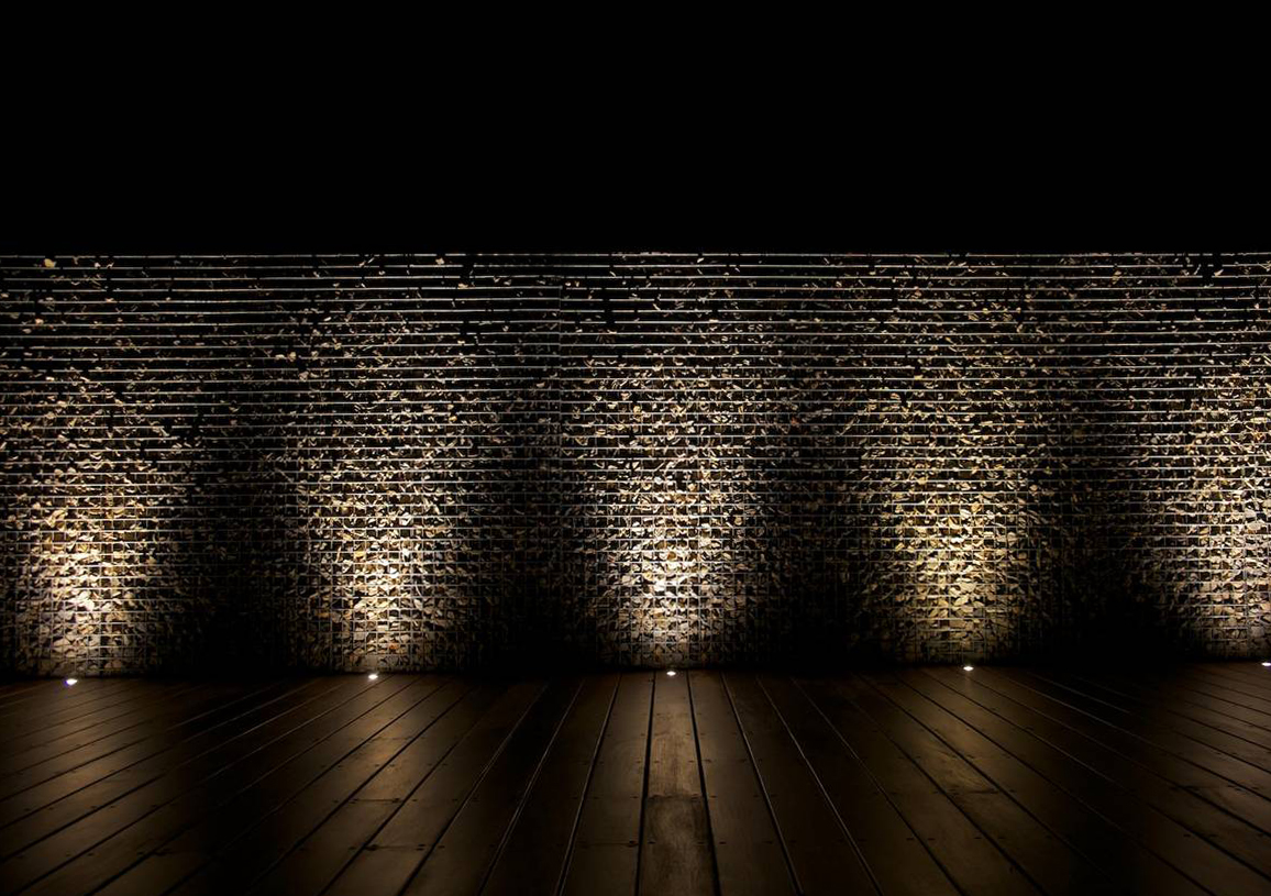 Gabion Feature Wall With Lighting