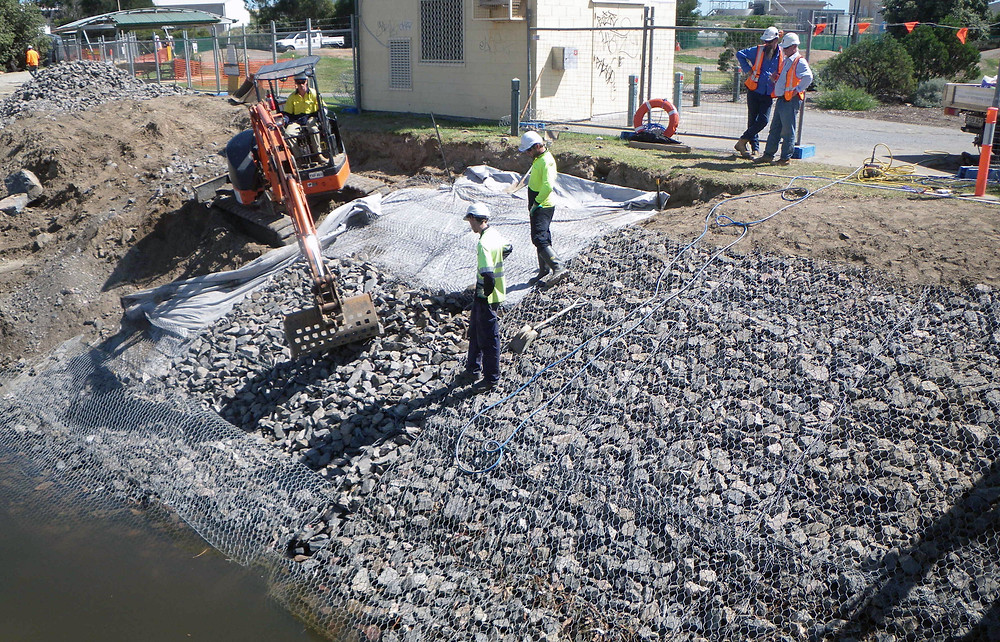 Reno Gabion mattresses being installed by Prospect Contractors