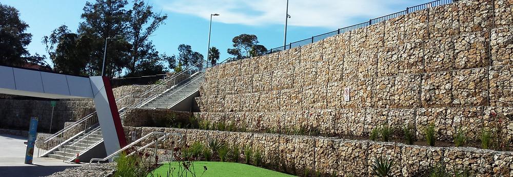 Hand faced Gabion wall