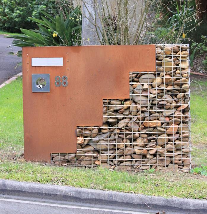 Gabion Letterbox With Corten Steel