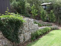 Gabion retaining wall in the garden