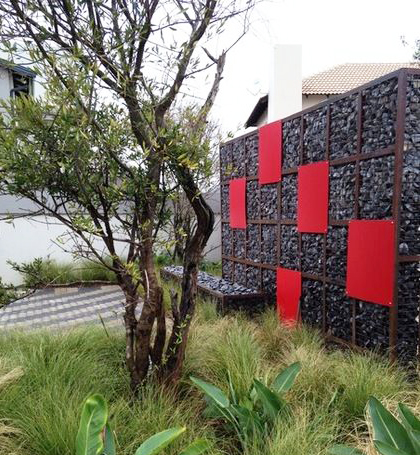 Gabions with Square Red Panels