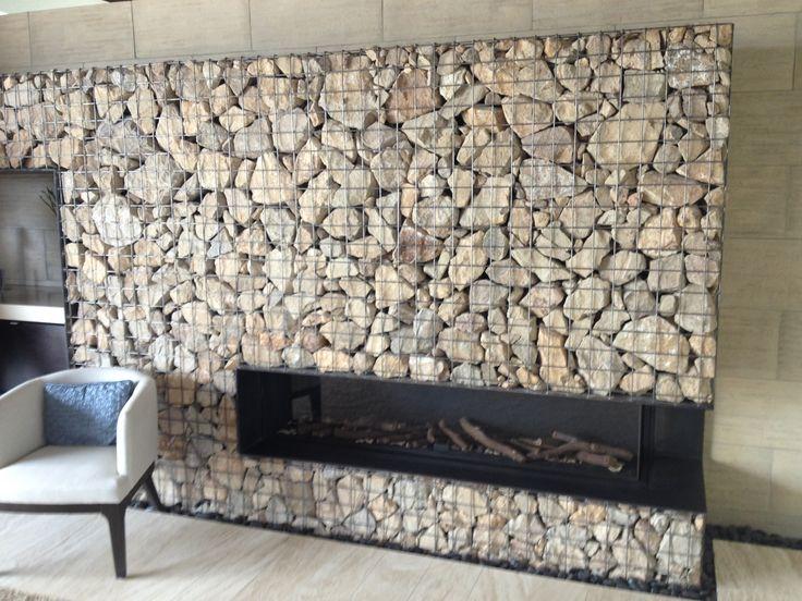 Gabion Wall Fireplace