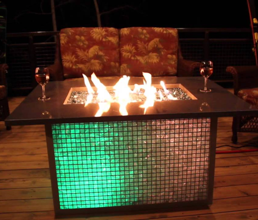 Glass Gabion Fire Pit