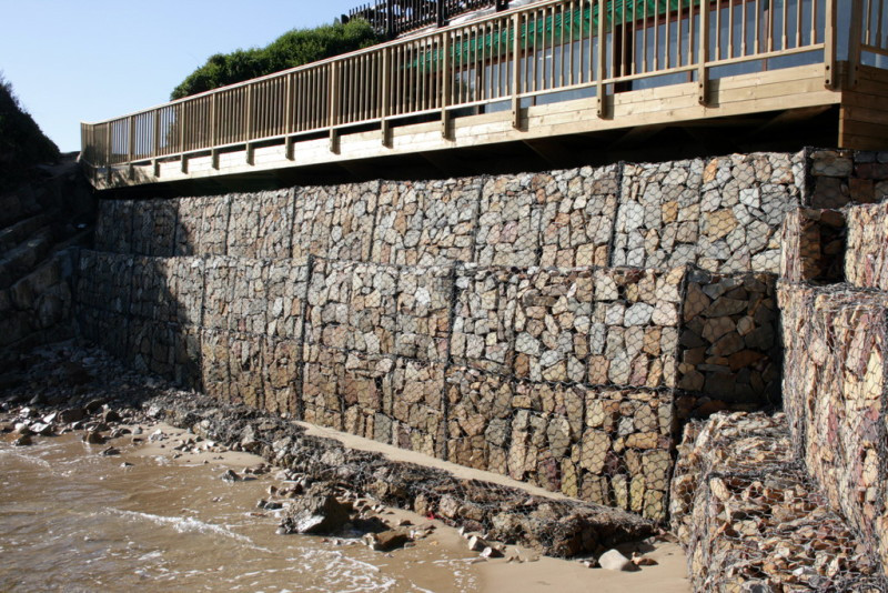 Gabion Seal Wall at Plettenberg Bay by Tuiniqua Engineers.