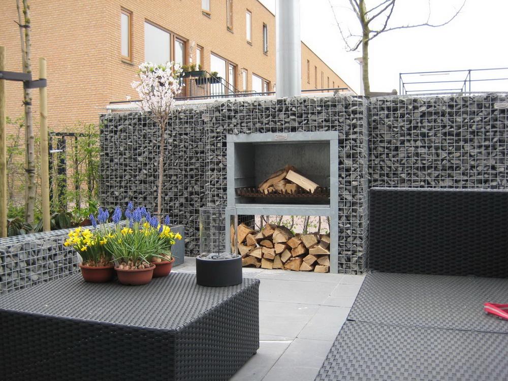 Outdoor Gabion Fireplace
