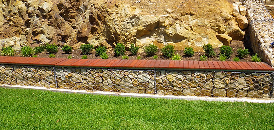 Gabion and timber bench seating
