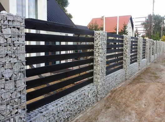 Gabion & Slat Fence