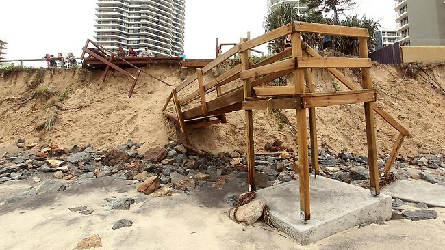 Example of beach erosion