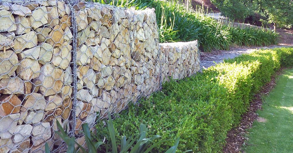 Sandstone Stepped Gabion Retaining Wall