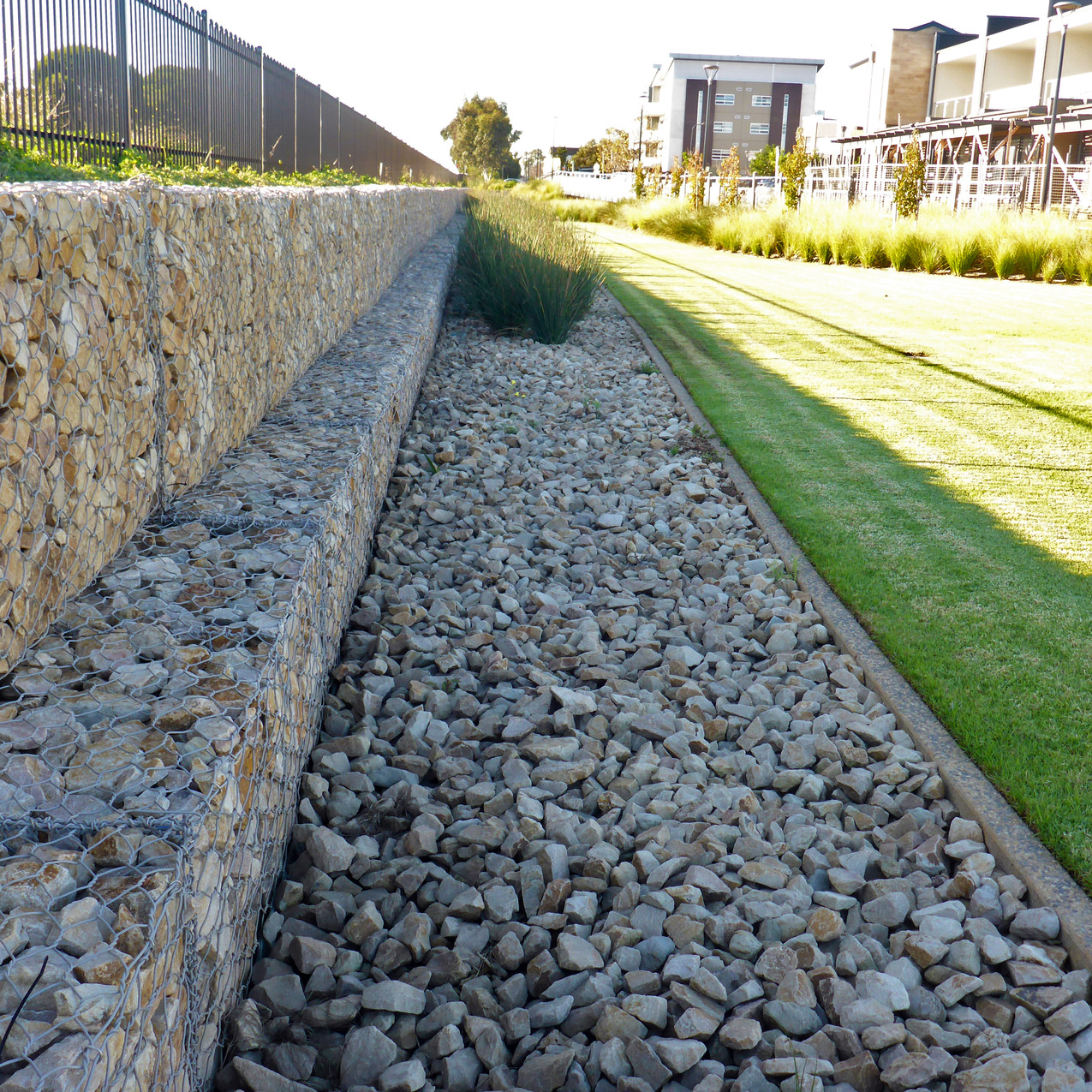 Gabions and river pebbles