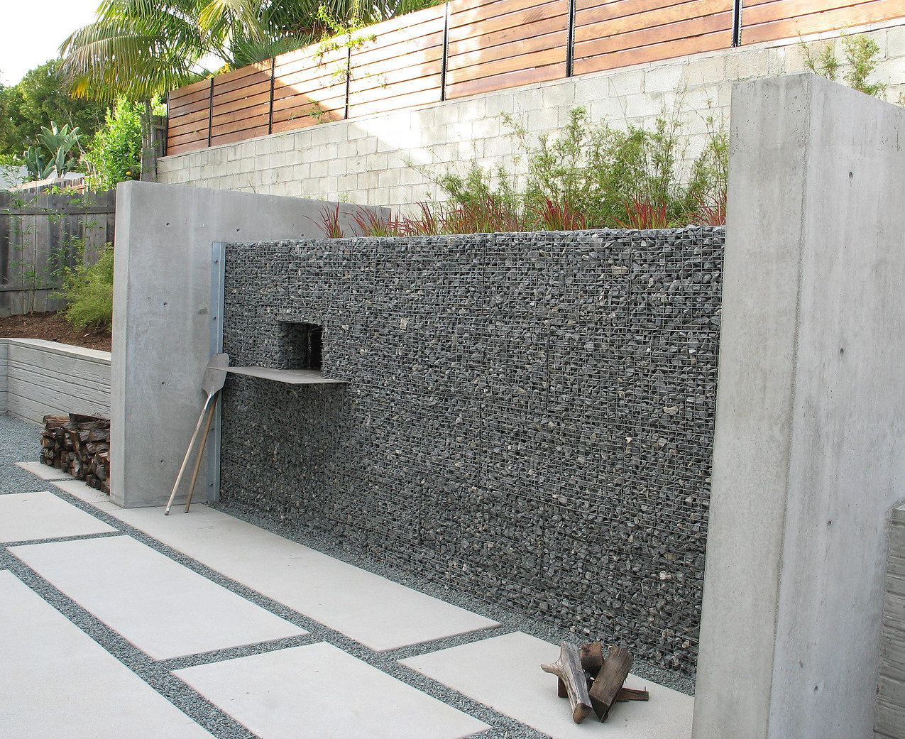 Pizza Oven in Gabion Wall