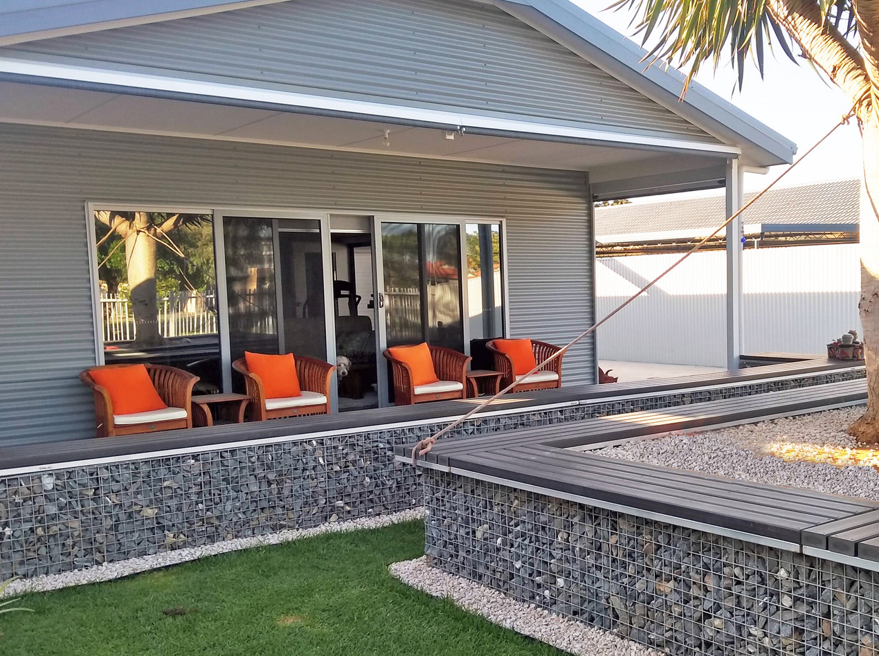 Rockweld Gabion planter box and retaining walls with seating