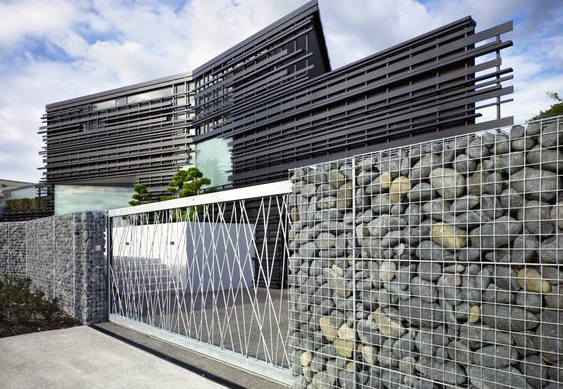 Gabion Fence with Architectual Gate