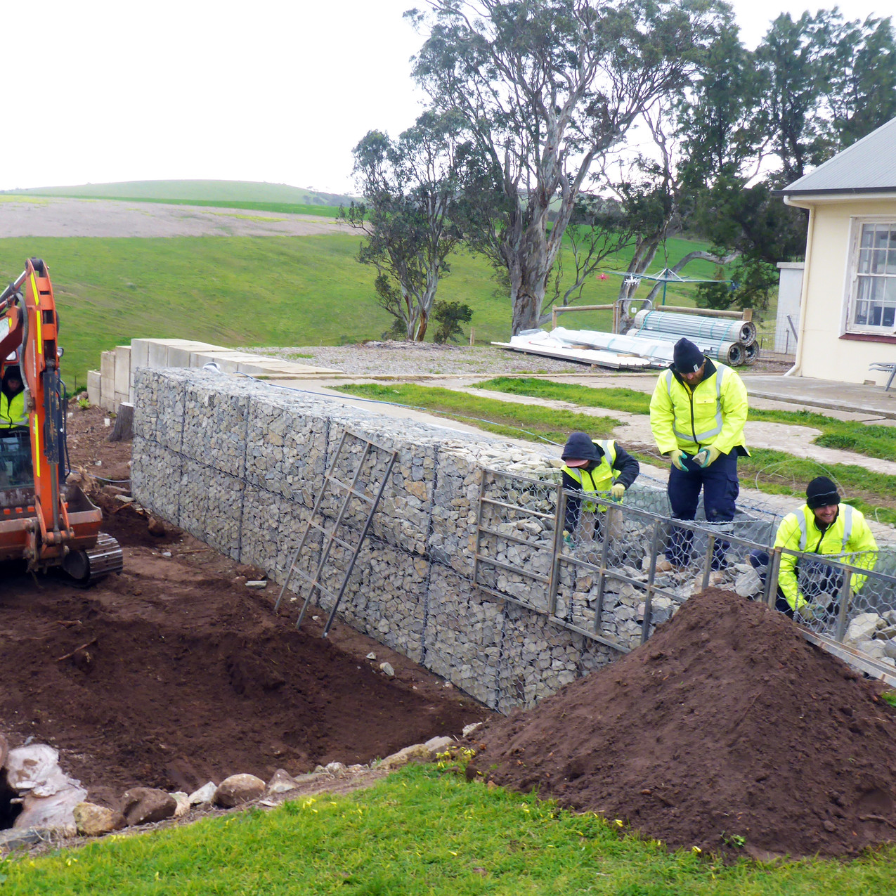 Wire Gabion Wall Installation