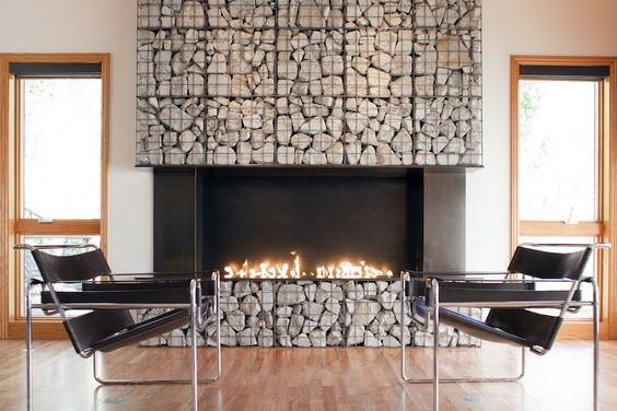 Indoor Gabion Fireplace