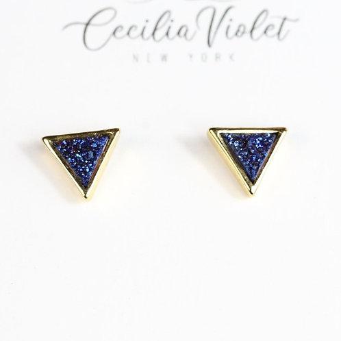Blue Triangle Druzy 18 gold (pt)