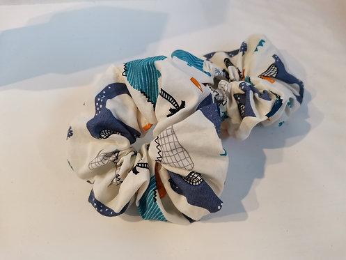 Blue Dino scrunchie