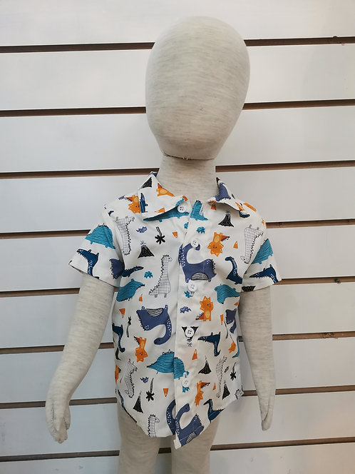 Blue and Orange Dinosaurs Shirt