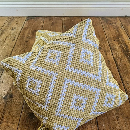 Mustard diamond cushions