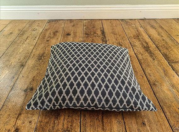Navy geometric cushion
