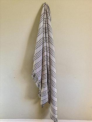Grey & white striped throw