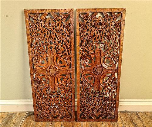 Pair of Thai wooden screens