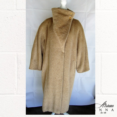 Max Mara Faux Fur Tan Vtg 90s Oversized Coat