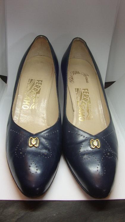 Salvatore Ferragamo Saks Fifth Avenue Navy Leather Vintage Heels, 9.5 AA