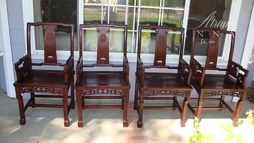 A Set of Four huanghuali Qing-Style Armchairs