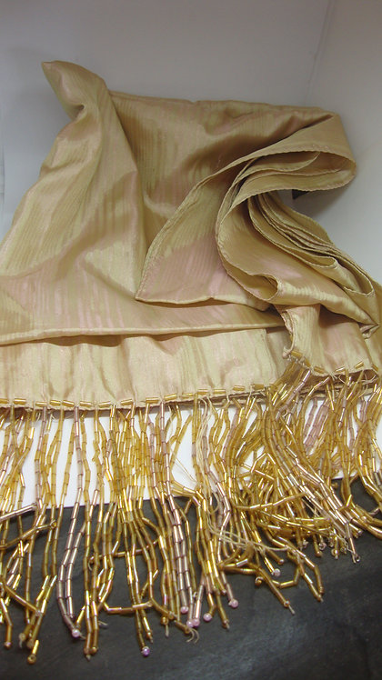 Two-toned pink and yellow vintage silk scarf with bead fringes