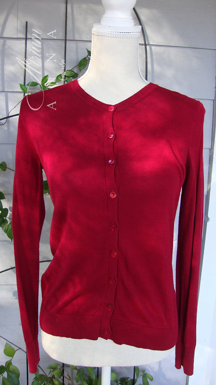 August Silk Classic Red Cotton Blend Button Cardigan, S
