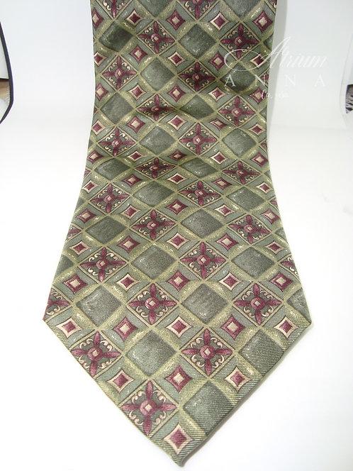 Cambridge Classics Olive Green 100% Silk Vintage 80s Tie