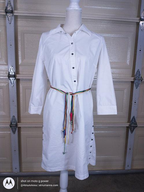 AJ Armani Jeans White Cotton Shift Dress, 44