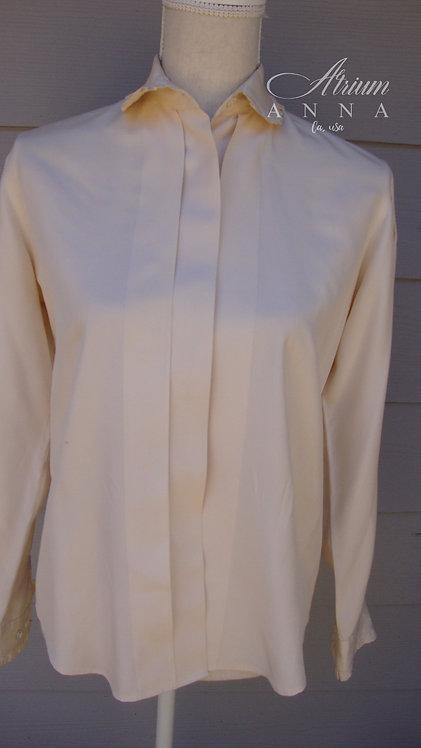 Nordstrom Women's Tailored Clothing 100% Silk Beige Button Down Shirt