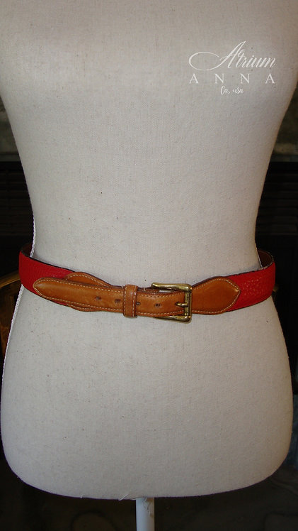 Vintage Red and Brown Leather Belt