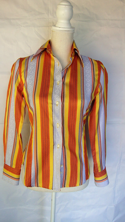 Etro Bright Orange Striped Cotton Button-Down Shirt