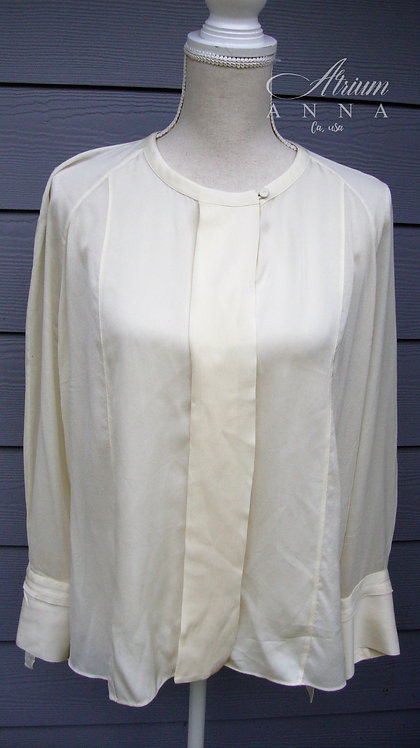 Elizabeth and James Ivory Silk Light Sheer Button-Down Shirt, L